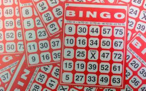Overhead photo of red bingo cards