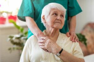 Senior woman in respite care.
